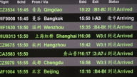 Arriving schedule board in China airport video