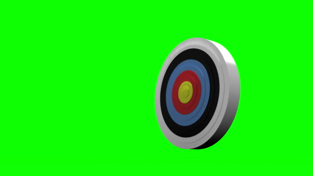 Arrow flying towards dart board and hitting target video