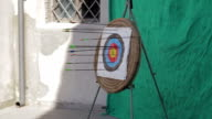arrow hits archery target: center, shot, sport, aim video
