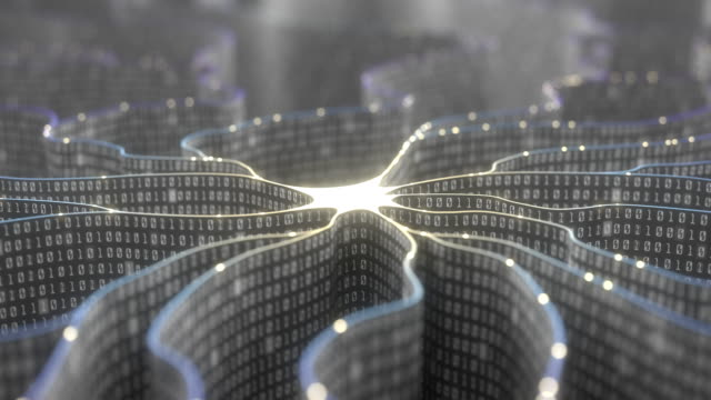 Artificial neuron in concept of artificial intelligence. video
