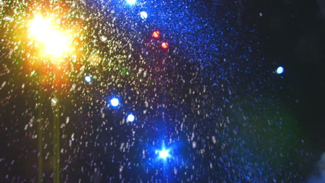 Artificial snow falls on stage video