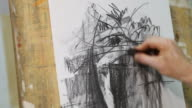 Artist drawing in studio (HD) video