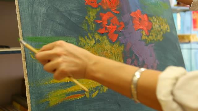 Artist drawing in studio (HD) video