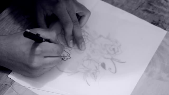 Artist drawing video