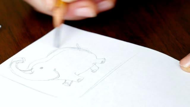 Artist draws a pencil sketch in art studio video