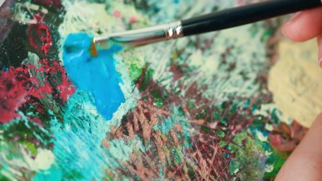 Artist paint oil art on canvas video