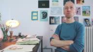 Artist portrait thinking to new ideas. video