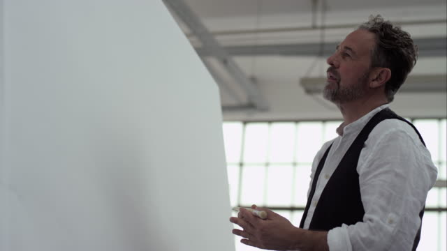 Artist thinking about his new painting video
