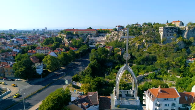 Ascending drone shot over ancient roman remains in the old town of Plovdiv in Bulgaria video