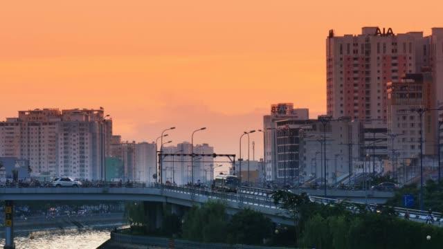 SAIGON RIVER HO CHI MINH, VIETNAM - NOVEMBER 2015: Asia City Sunset video