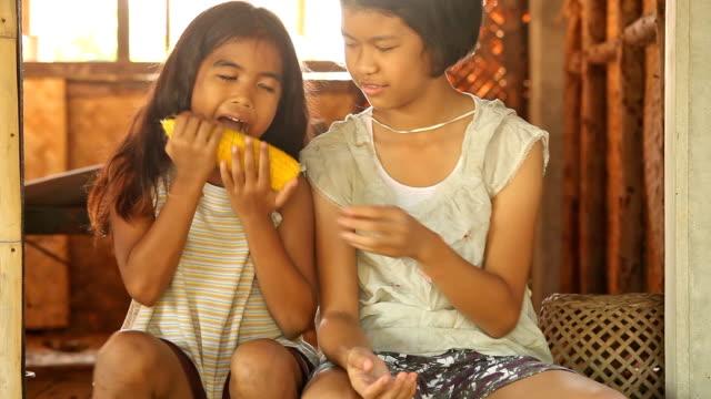 Asia girls eating video