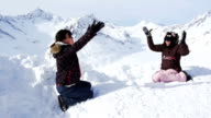 Asia Girls Playing Snow on Alps video