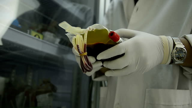 Asia medical technician man doing quality control of blood bag during storage refrigerator in laboratory hospital video