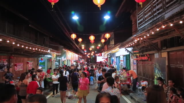 Asian Chinese street market at Pattaya Thailand video