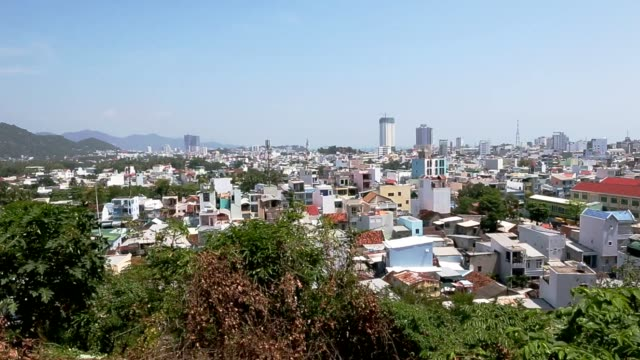 Asian city panorama of cityscape horizon. video