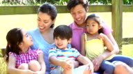 Asian Family Relaxing By Fence On Walk In Countryside video