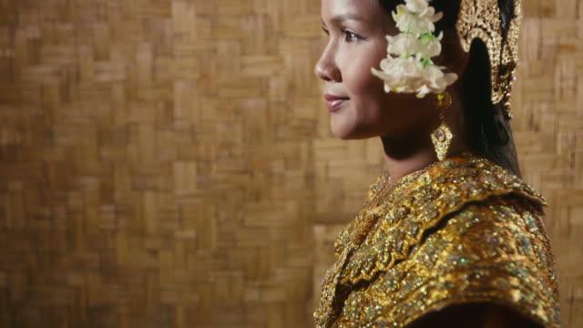 Asian female dancer showing traditional cambodian dance, khmer art video