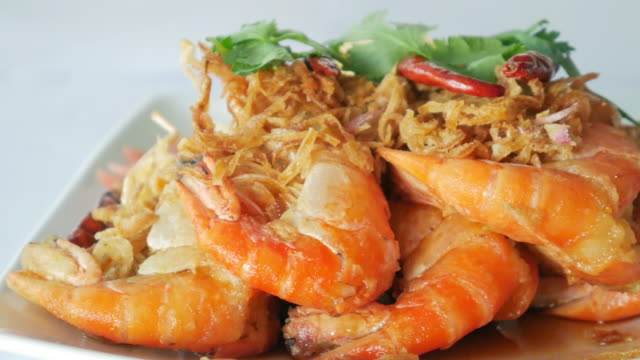 Asian food , Thai food : Fried shrimp with spicy sauce and Vegetable video