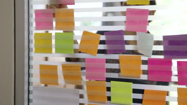 Asian girl Creative business brainstorming ideas and concepts with post it video