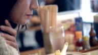 Asian girl eating ramen video