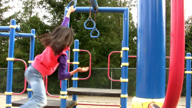 Asian Girl On Playground Rings video
