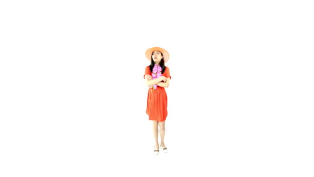 asian girl orange sundress isolated on white worried upset video