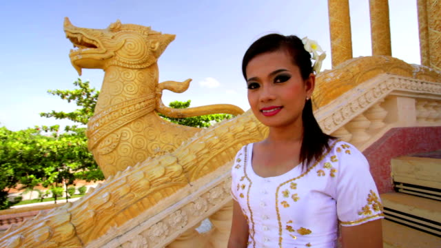 Asian Girl with Traditional Clothes in Temple video