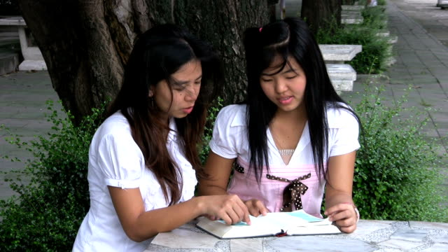 Asian Girls Reading and Discussing The Bible video