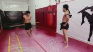 Asian men training kickboxing in gym, fighter, martial arts, sport video