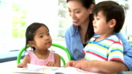 Asian Mother Reading A Story To Children video