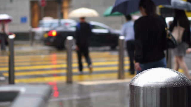 Asian people in Hong Kong crossing road traffic while raining. Business working district people walk with umbrella video