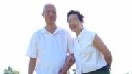 Asian senior couple enjoying sunshine in nature meadow field video