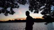 Asian senior man silhouette at dawn under tree shadow. Thinking about life video