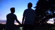 Asian senior silhouette holding hand next to lake. Early morning before sunrise. Beautiful nature video
