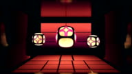 Asian themed Japanese dojo room with moving floor tiles, walls, and dancing glowing lantern lights in a seamless loop video