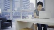 Asian woman in urban indoor in 4K video