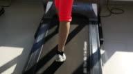 4K : Asian woman running on treadmill video