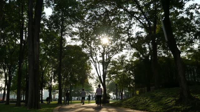 Asians jogging in park video