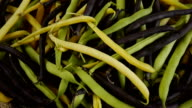 Asparagus beans on sackcloth. video