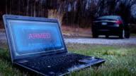Assassin flees the scene of a Laptop Bomb Device in black sedan video