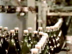 Assembly line of Champagne bottles video