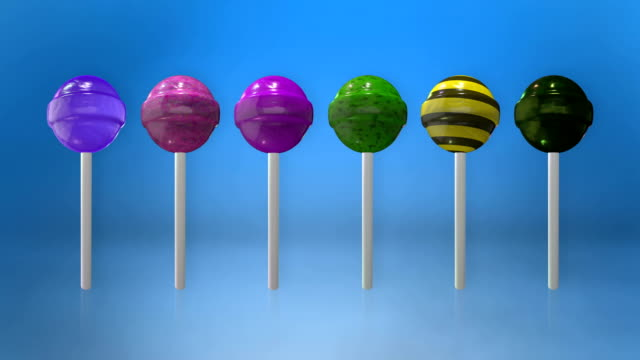 Assortment of colorful lollipops animation loop with luma matte video