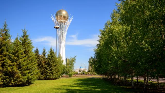 Astana city in the center of the photo Baiterek monument. video