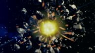 Asteroid collision in space video