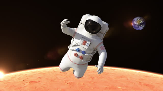 Astronaut Flying Over The Mars Surface - Close Up video