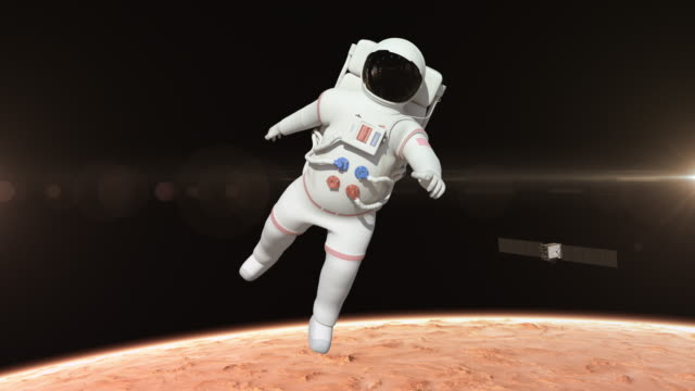 Astronaut Flying Over The Mars Surface video