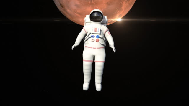 Astronaut On Spacewalk Front Of The Mars Surface video