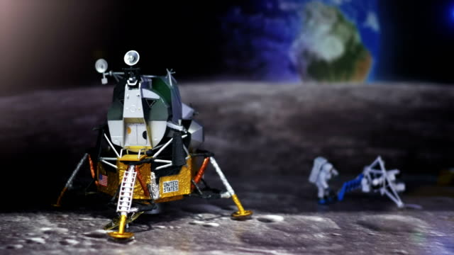 Astronaut, spaceman and spaceship on moon. video