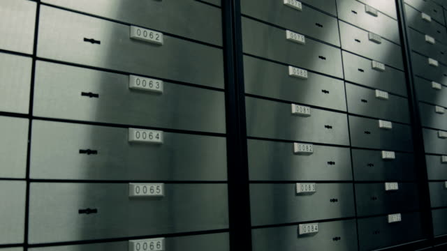 At bank. Room with safety deposit boxes video