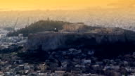 Athens acropolis at sunset video